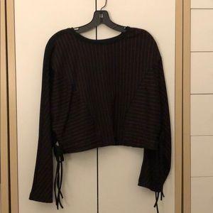 Zara perpendicular stripe cropped  sweatshirt